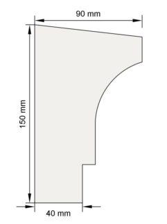 Изображение Подоконный карниз П15 декор лепнина размеры