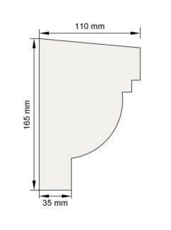 Изображение Подоконный карниз П16 декор лепнина размеры